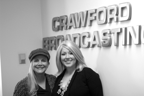 "Stephanie and Angie in front of the infamous ""Crawford Broadcasting"" sign. (January 2013)"