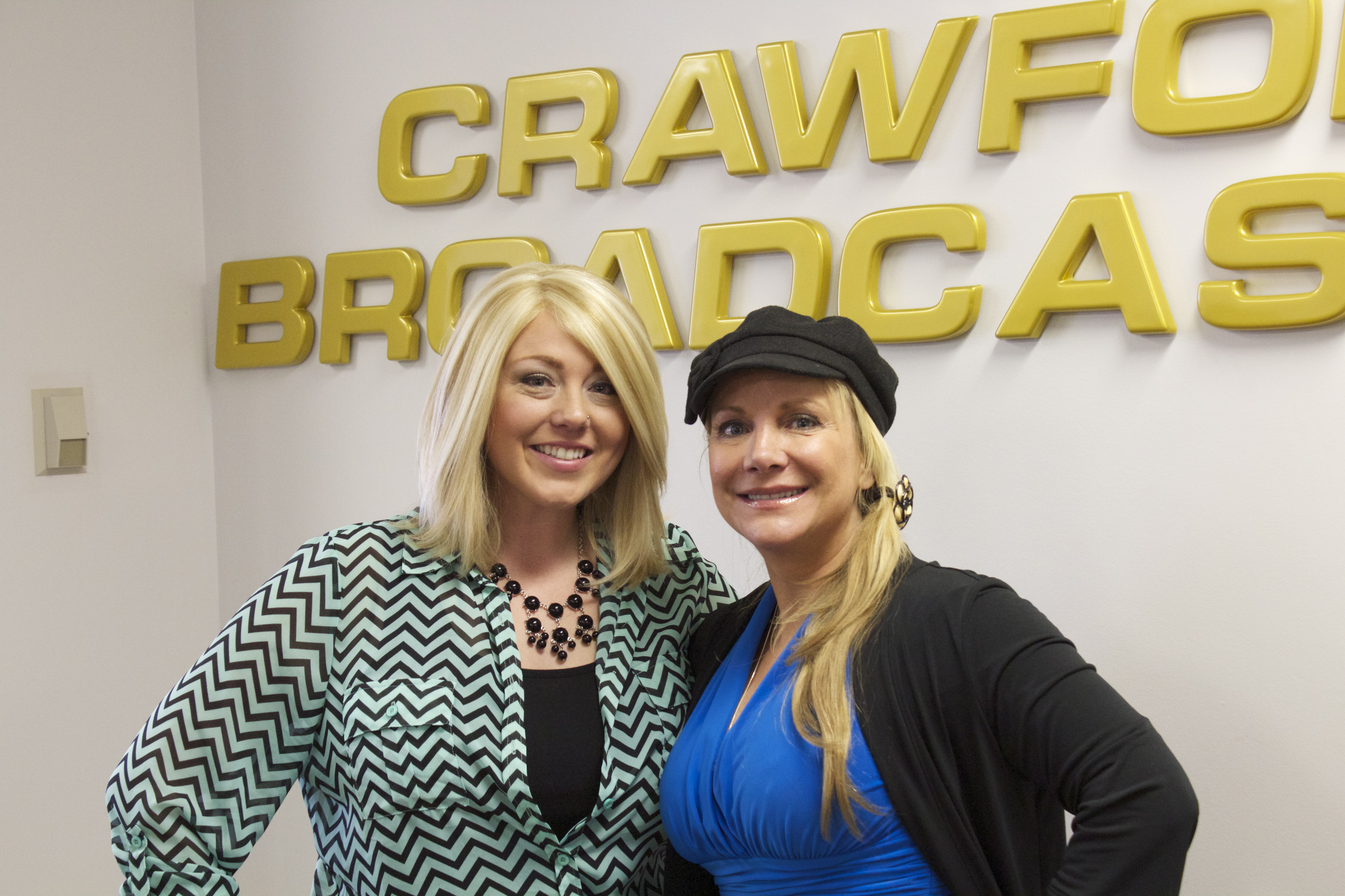Stephanie and Angie after a great show on 810 KLVZ The Good News! (March 2013)